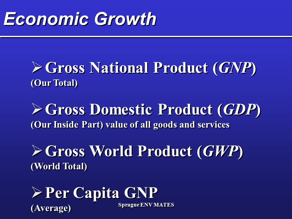 Economic Growth Gross National Product (GNP)