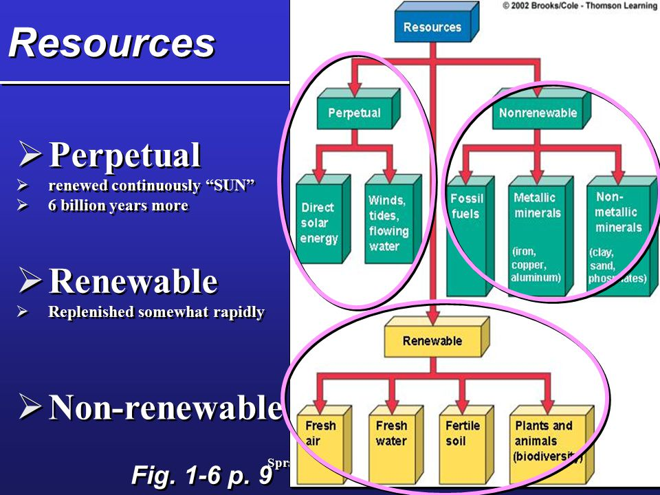 Resources Perpetual Renewable Non-renewable Fig. 1-6 p. 9