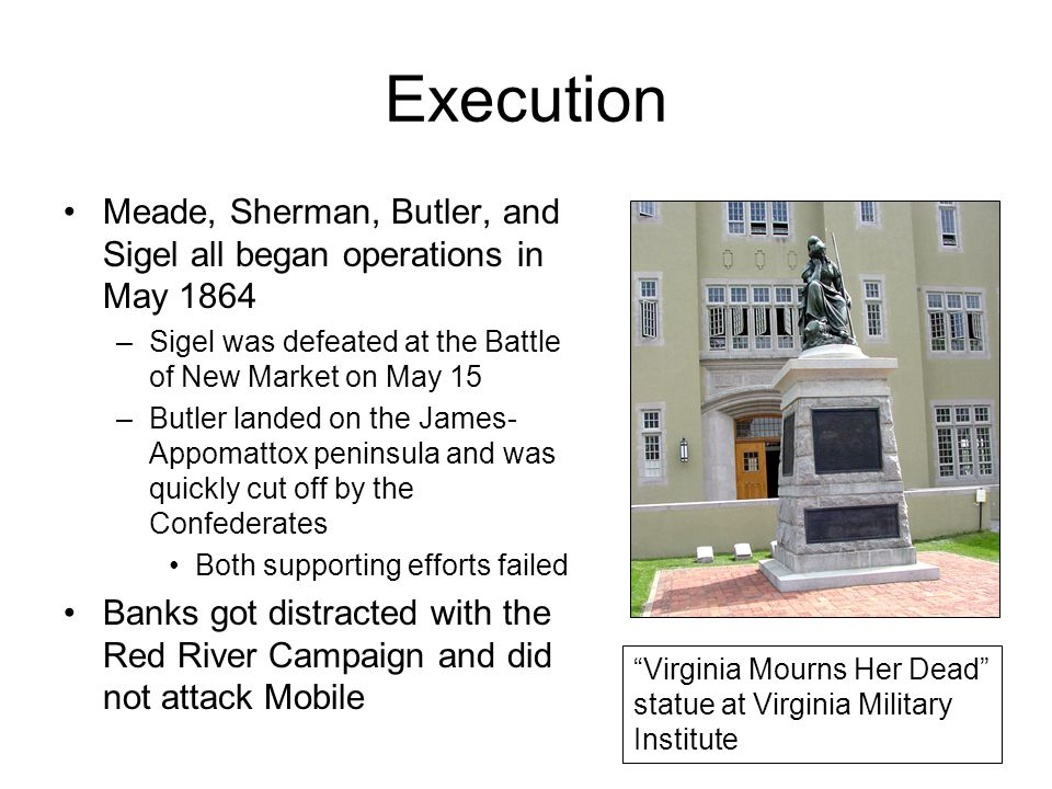Execution Meade, Sherman, Butler, and Sigel all began operations in May 1864. Sigel was defeated at the Battle of New Market on May 15.