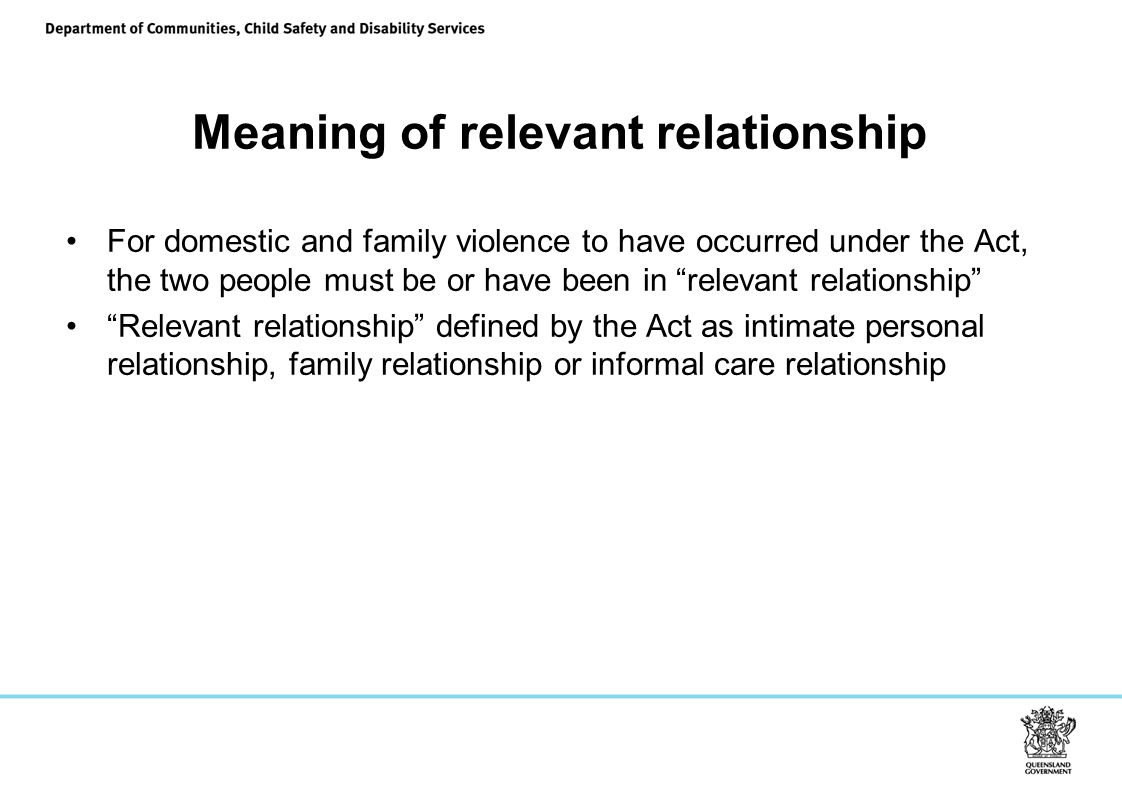 Meaning of relevant relationship