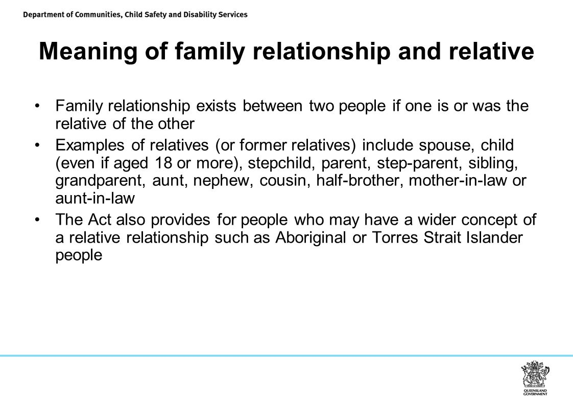 Meaning of family relationship and relative