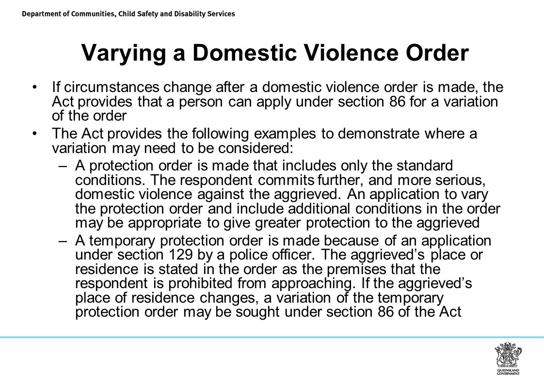 Varying a Domestic Violence Order