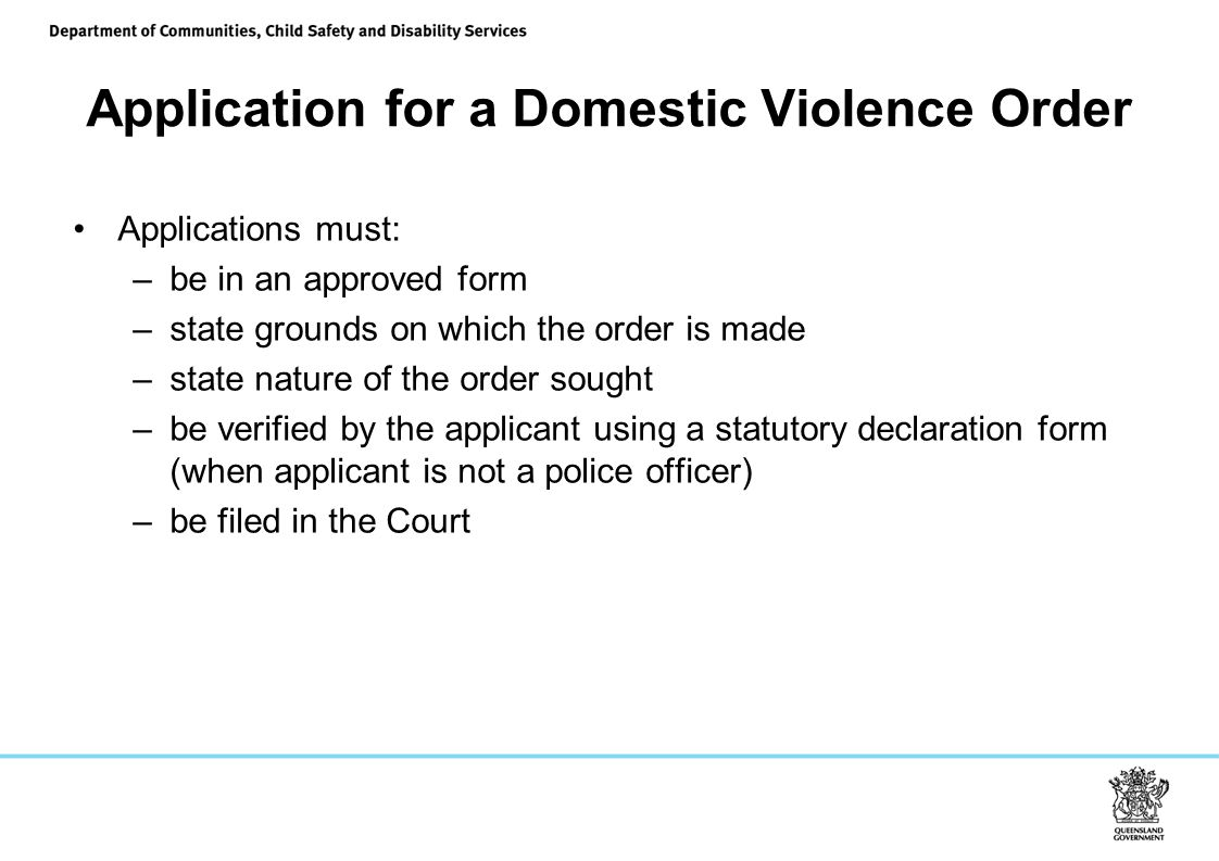 Application for a Domestic Violence Order