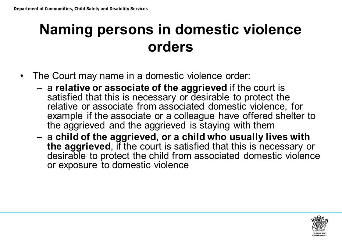 Naming persons in domestic violence orders