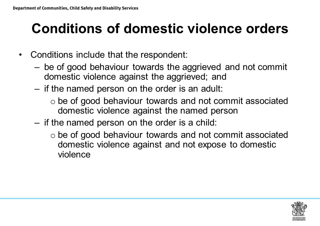 Conditions of domestic violence orders