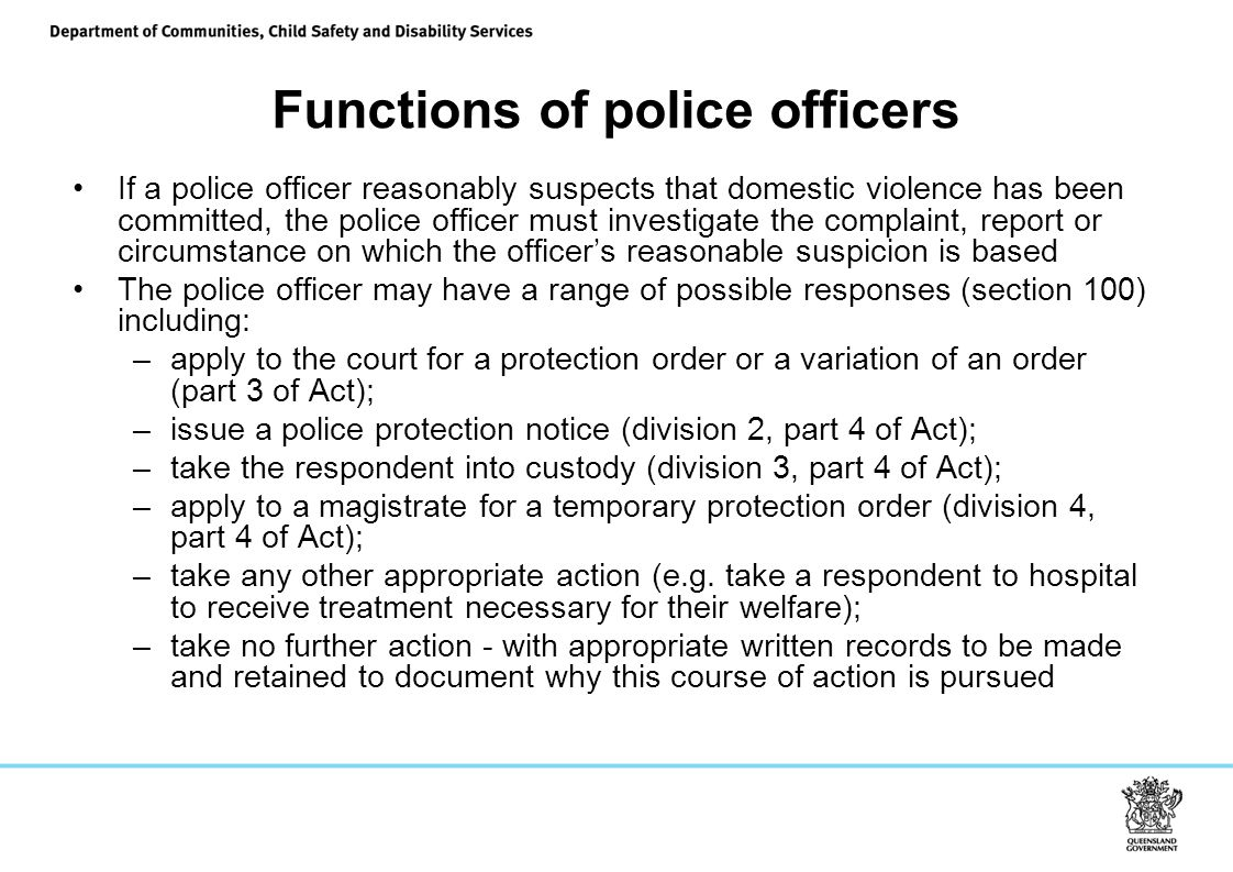 Functions of police officers