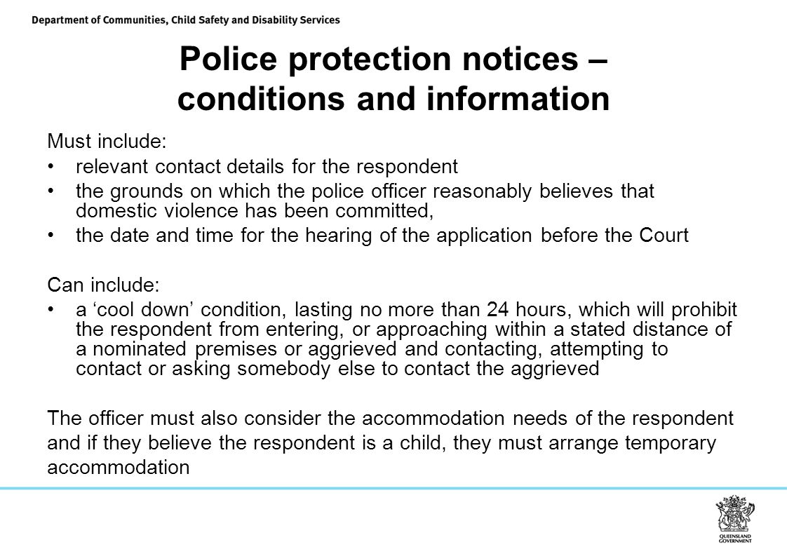 Police protection notices – conditions and information