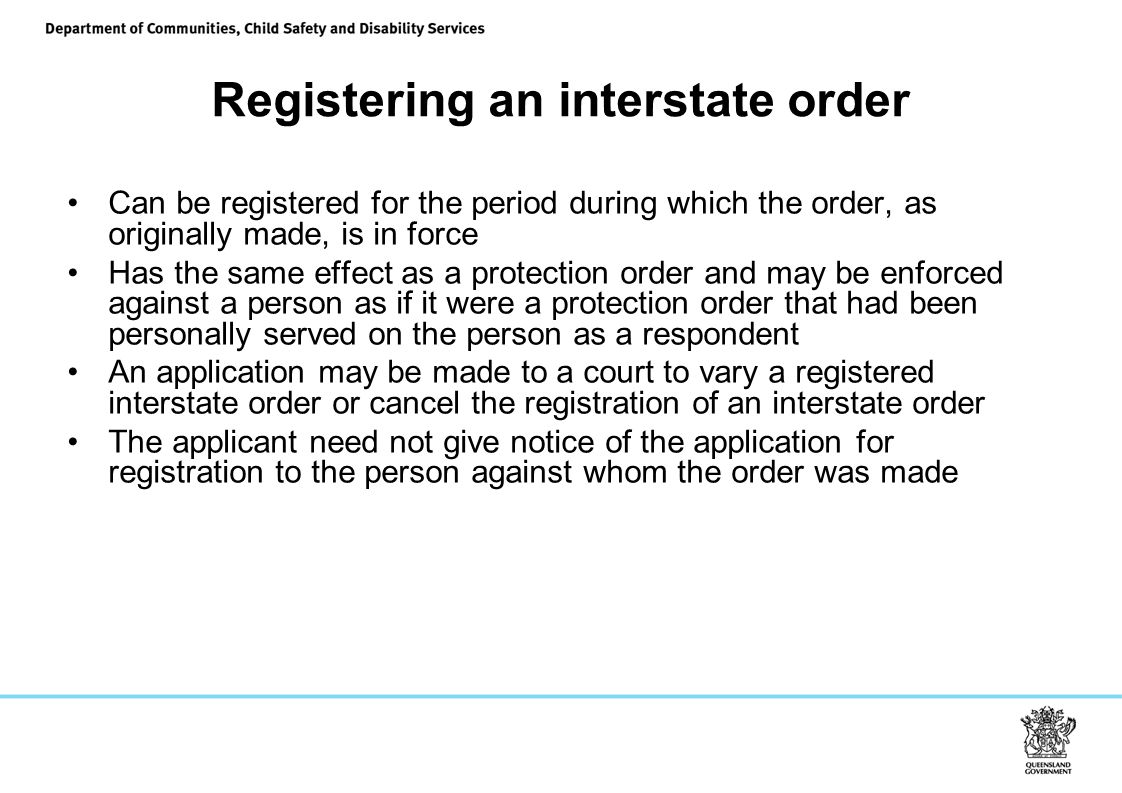 Registering an interstate order