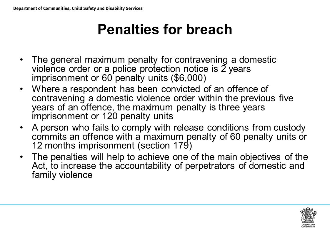 Penalties for breach