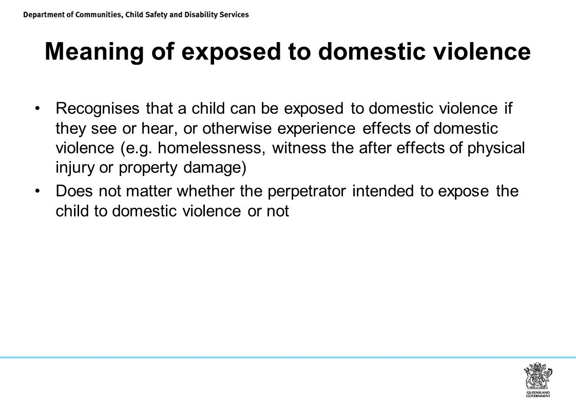 Meaning of exposed to domestic violence