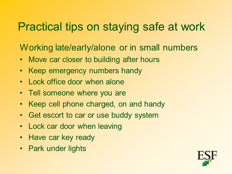 Practical tips on staying safe at work