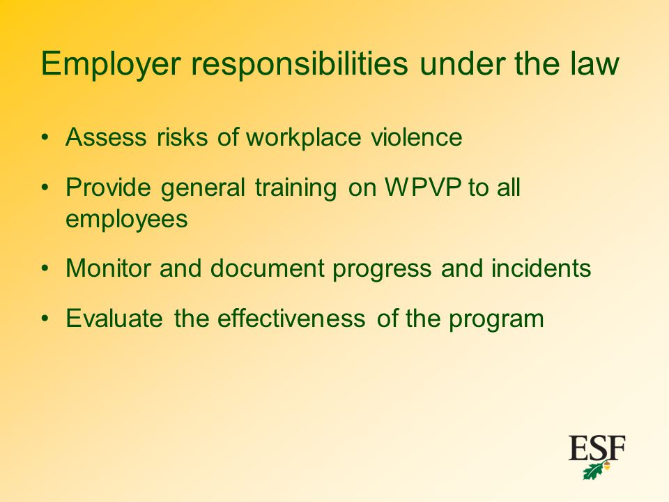 Employer responsibilities under the law