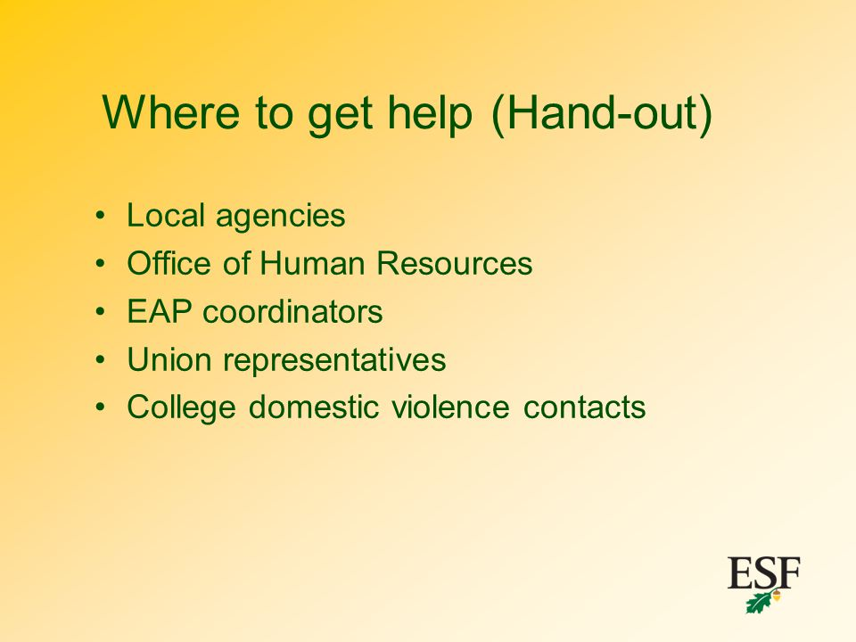 Where to get help (Hand-out)