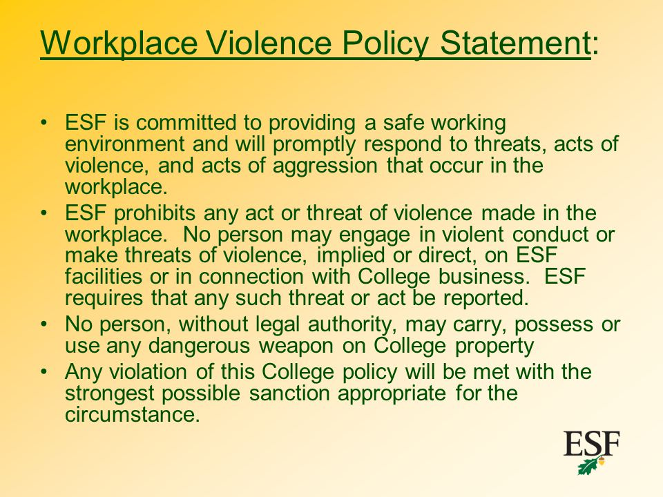 Workplace Violence Policy Statement: