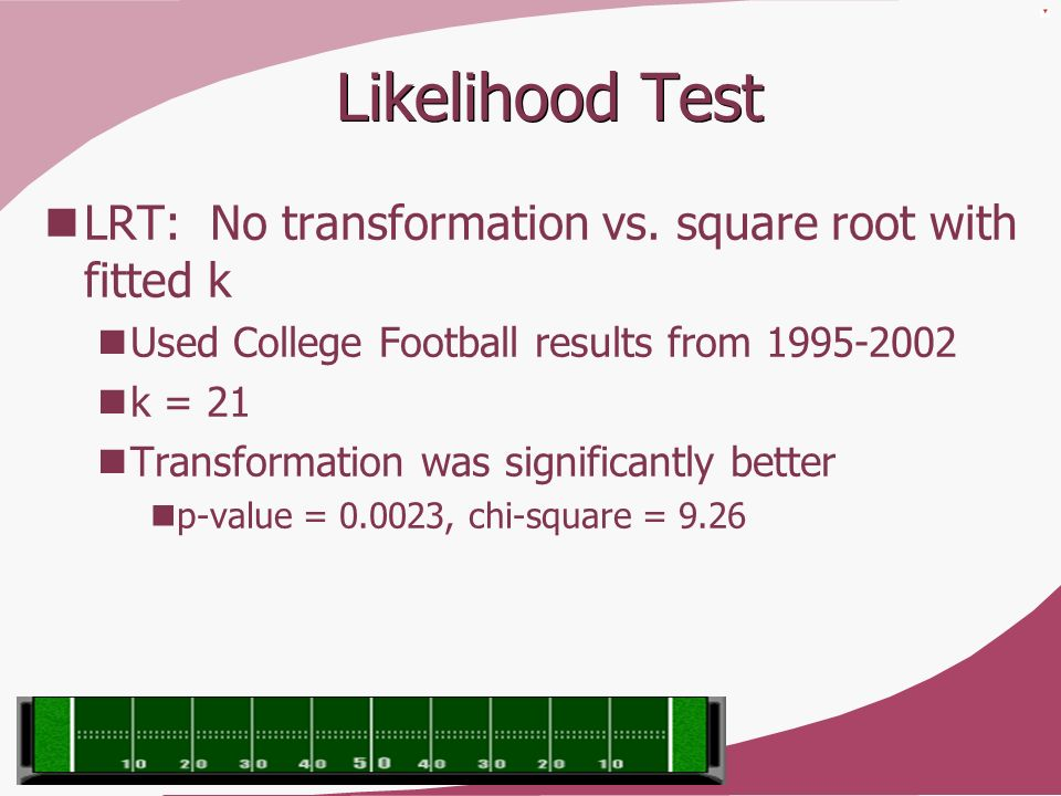 Likelihood Test LRT: No transformation vs. square root with fitted k