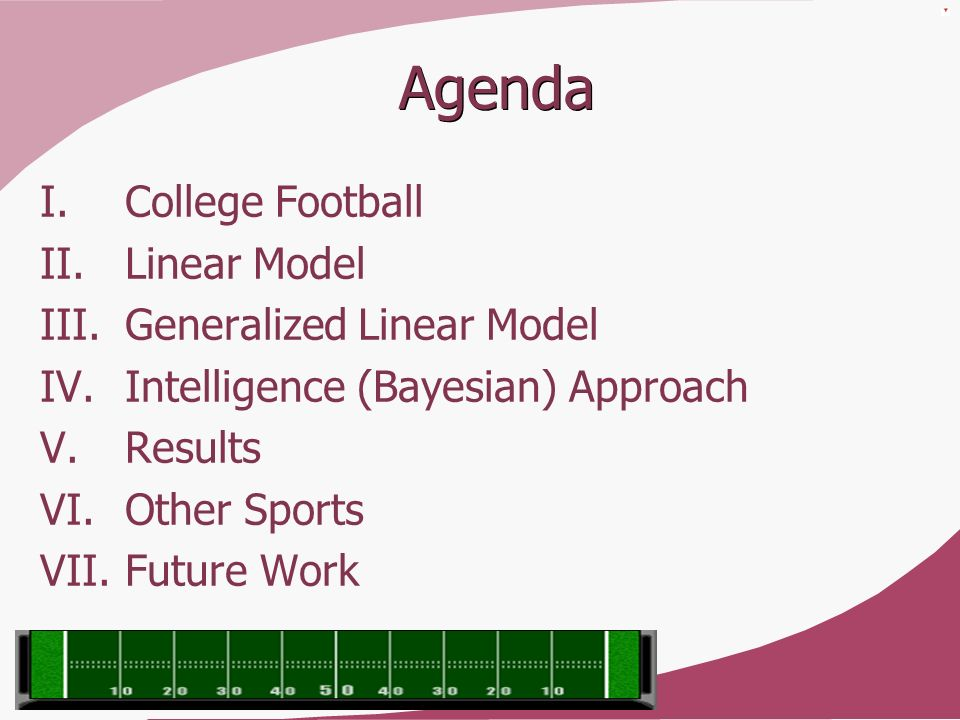 Agenda College Football Linear Model Generalized Linear Model