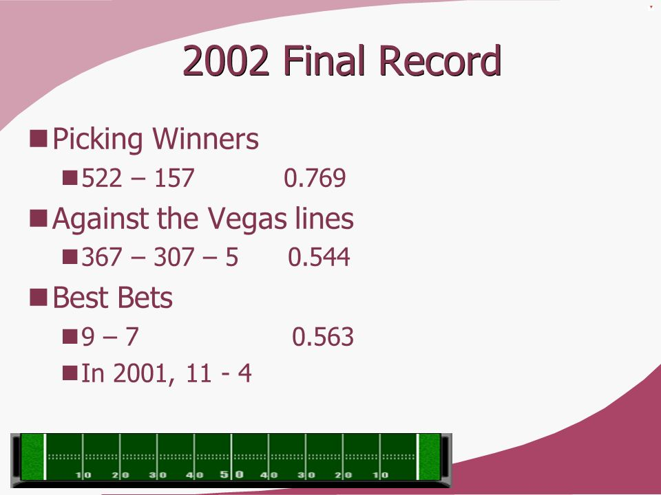 2002 Final Record Picking Winners Against the Vegas lines Best Bets