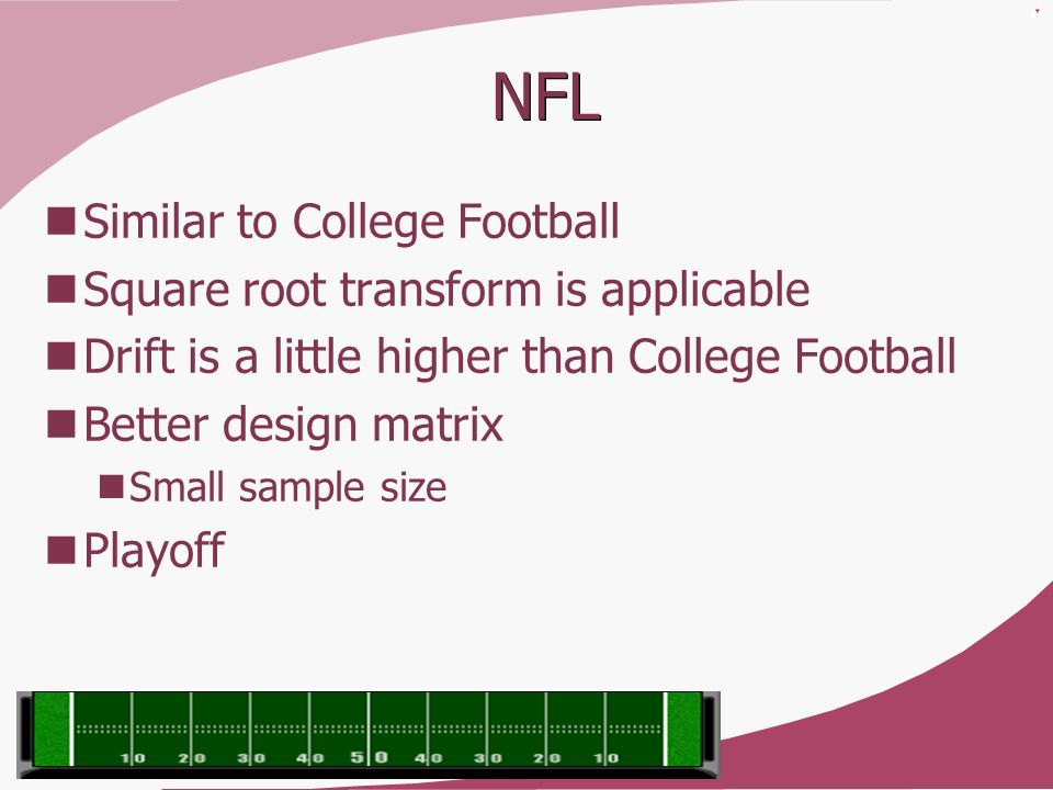 NFL Similar to College Football Square root transform is applicable