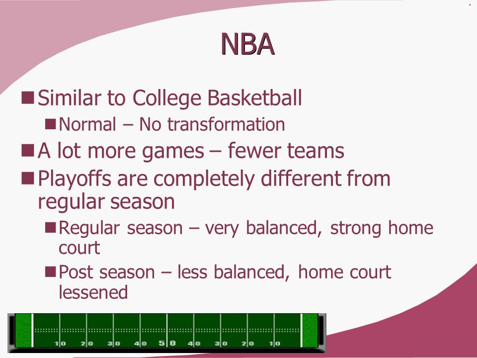 NBA Similar to College Basketball A lot more games – fewer teams