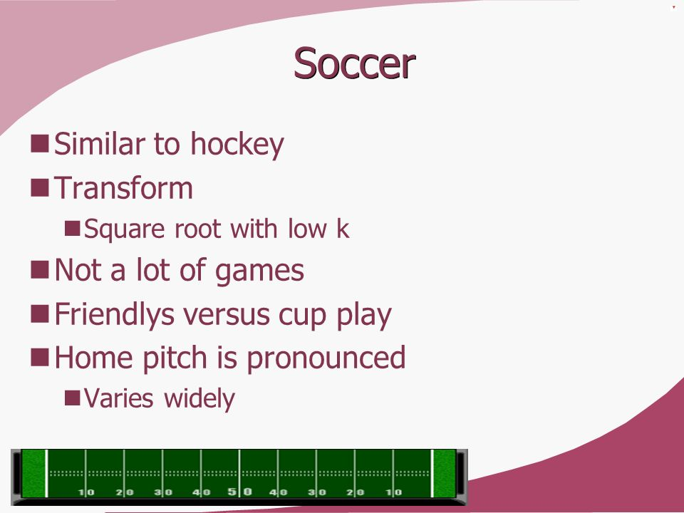 Soccer Similar to hockey Transform Not a lot of games