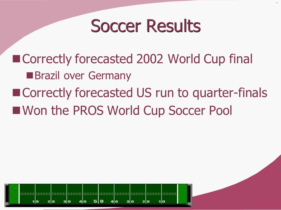 Soccer Results Correctly forecasted 2002 World Cup final