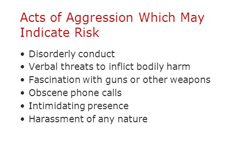 Acts of Aggression Which May Indicate Risk