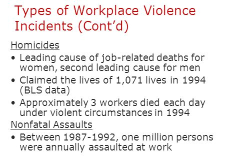 Types of Workplace Violence Incidents (Cont'd)