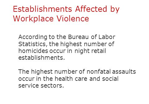 Establishments Affected by Workplace Violence