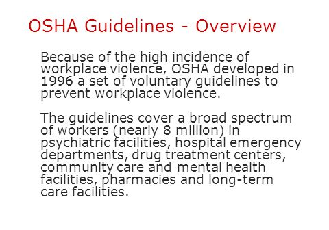 OSHA Guidelines - Overview