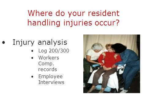 Where do your resident handling injuries occur