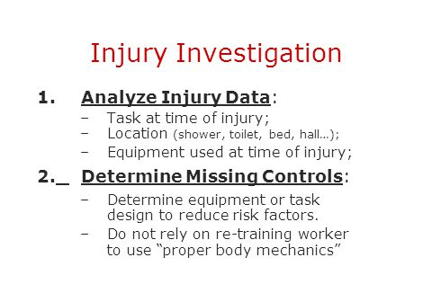 Injury Investigation 1. Analyze Injury Data: