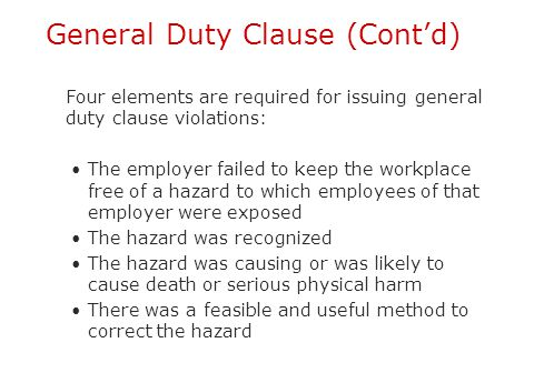 General Duty Clause (Cont'd)