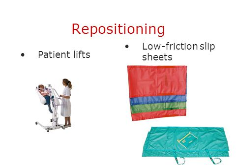 Repositioning Low-friction slip sheets Patient lifts