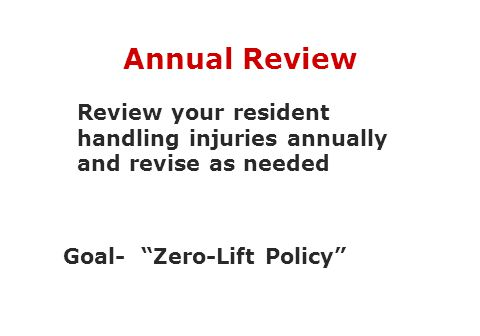 Annual Review Review your resident handling injuries annually and revise as needed.