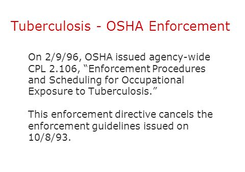 Tuberculosis - OSHA Enforcement