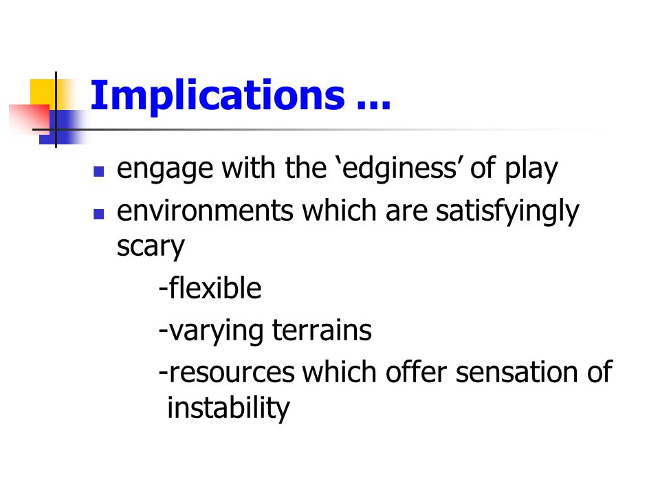 Implications ... engage with the 'edginess' of play