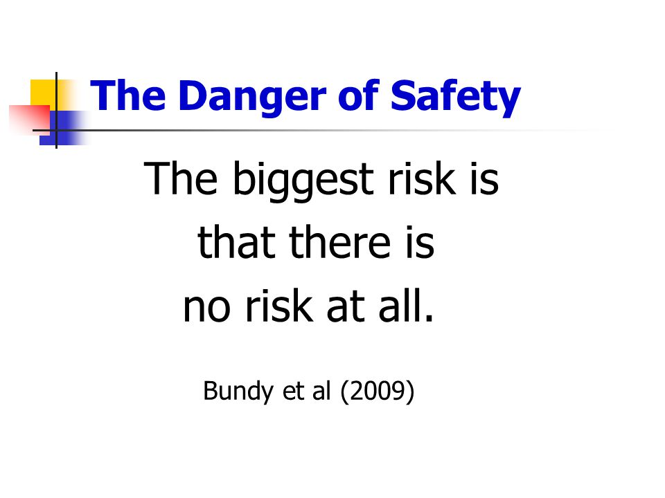 that there is no risk at all. The Danger of Safety The biggest risk is