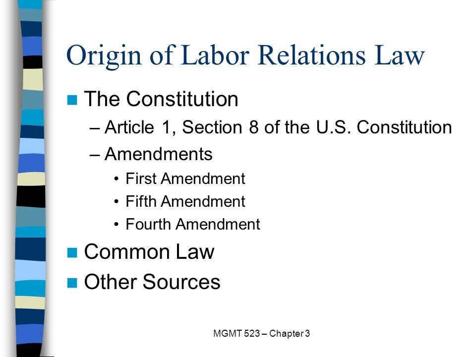 Origin of Labor Relations Law
