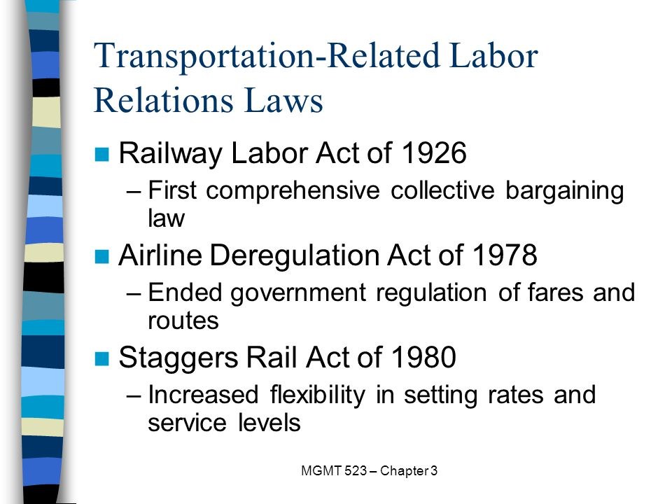 Transportation-Related Labor Relations Laws
