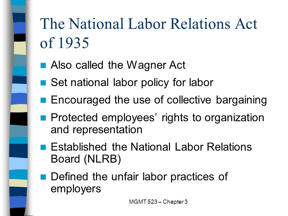 The National Labor Relations Act of 1935