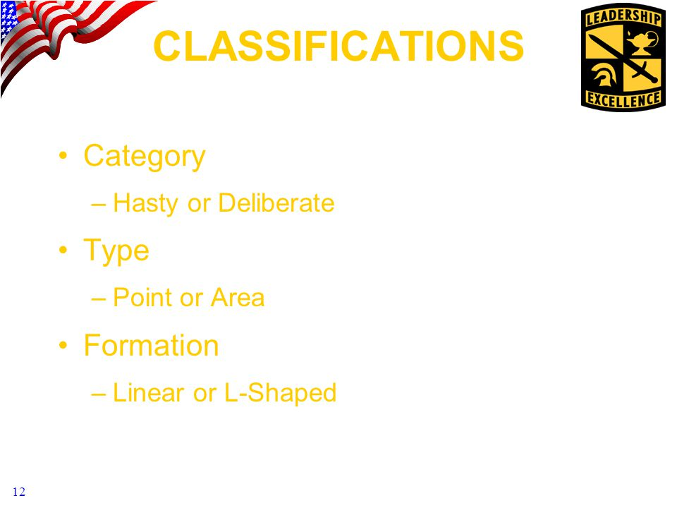 CLASSIFICATIONS Category Type Formation Hasty or Deliberate