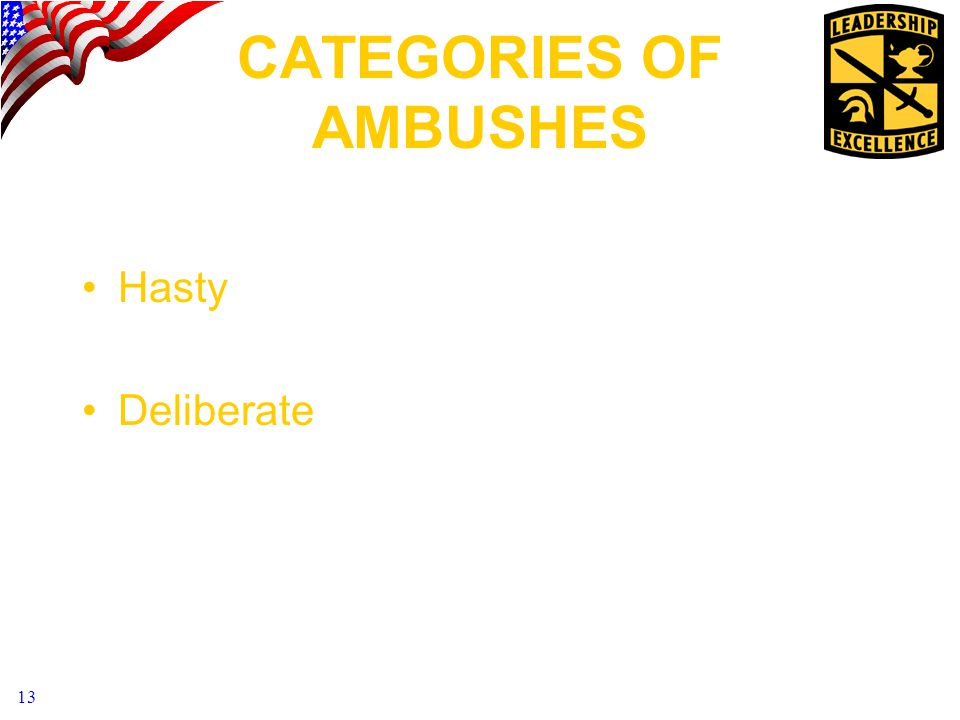 CATEGORIES OF AMBUSHES