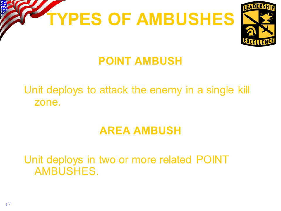 TYPES OF AMBUSHES POINT AMBUSH