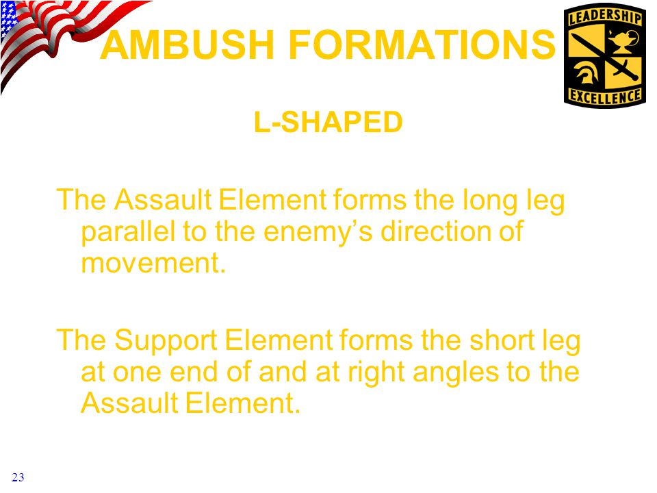 AMBUSH FORMATIONS L-SHAPED