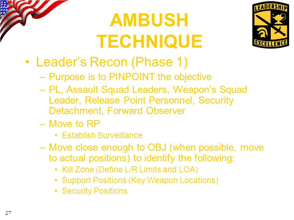 AMBUSH TECHNIQUE Leader's Recon (Phase 1)