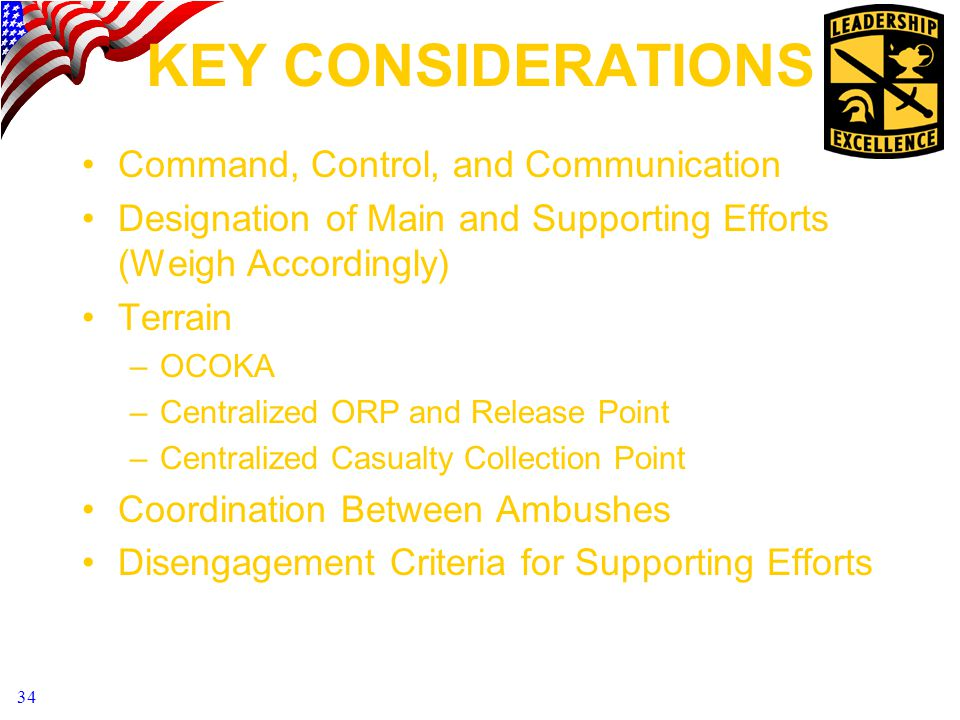 KEY CONSIDERATIONS Command, Control, and Communication