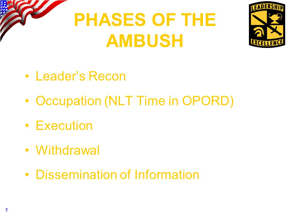 PHASES OF THE AMBUSH Leader's Recon Occupation (NLT Time in OPORD)