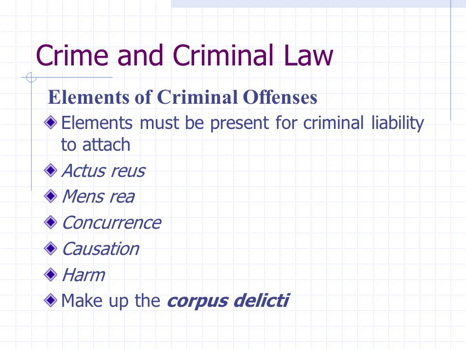 elements of a crime criminal In the area of criminal law there are specific elements of conduct that need to be shown to have existed at the time of an offense if the prosecution is unable to.