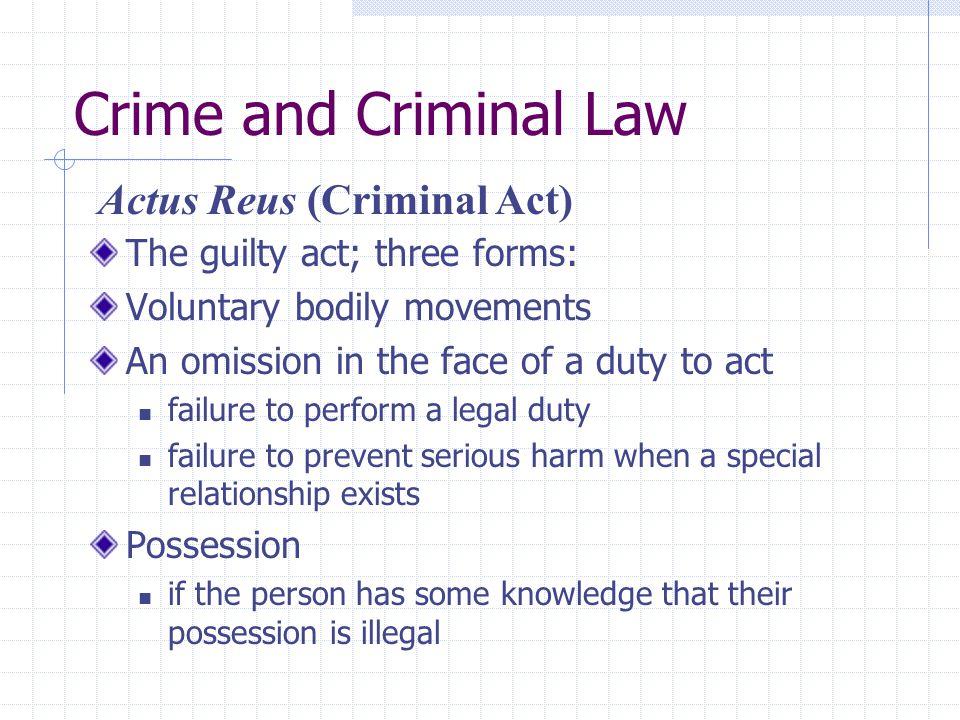 Crime and Criminal Law Actus Reus (Criminal Act)