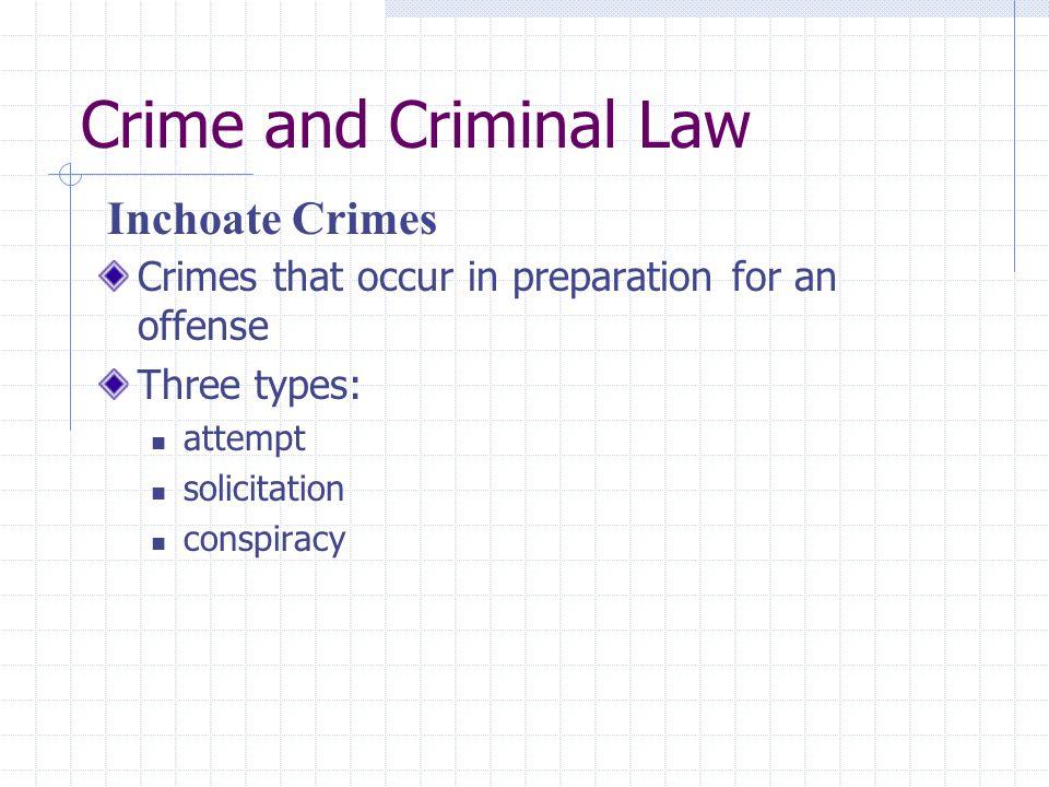 Crime and Criminal Law Inchoate Crimes